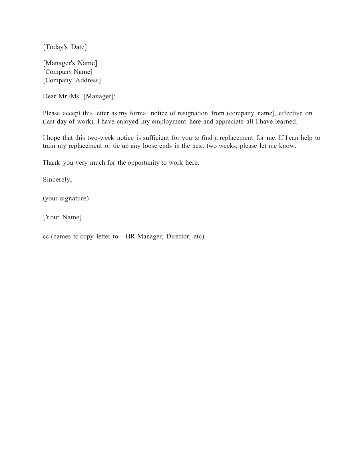Download Standard Two (2) Weeks Notice Letter Template And Inside 2 Weeks Notice Template Word