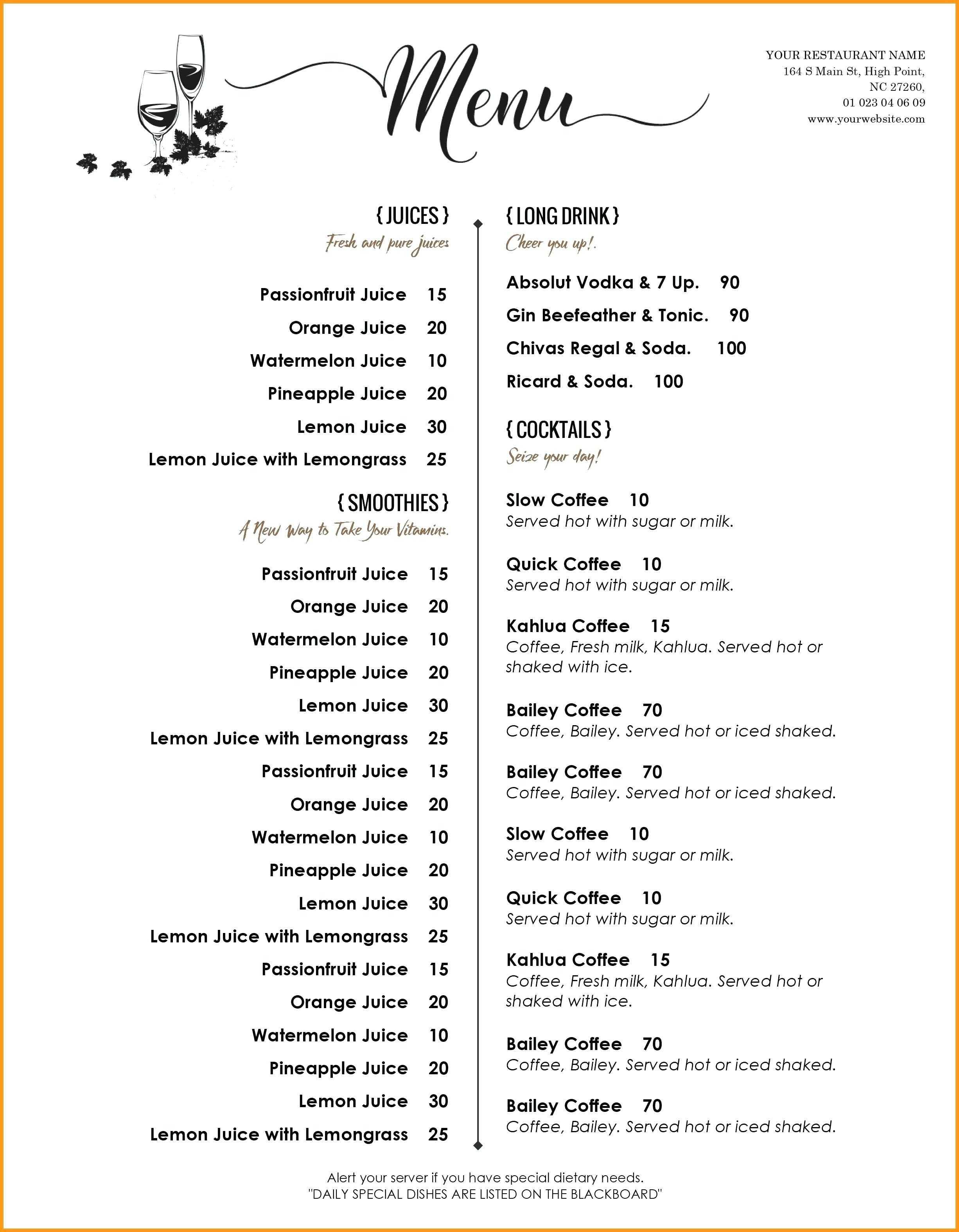 Drink Menu Template – Wepage.co With Cocktail Menu Template Word Free