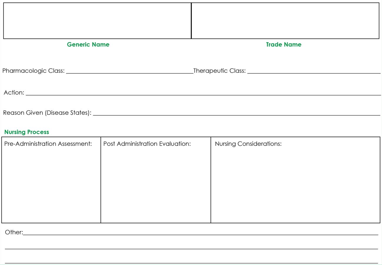Drug Card Template | Nursing | Pharmacology Nursing, Nursing Inside Medication Card Template