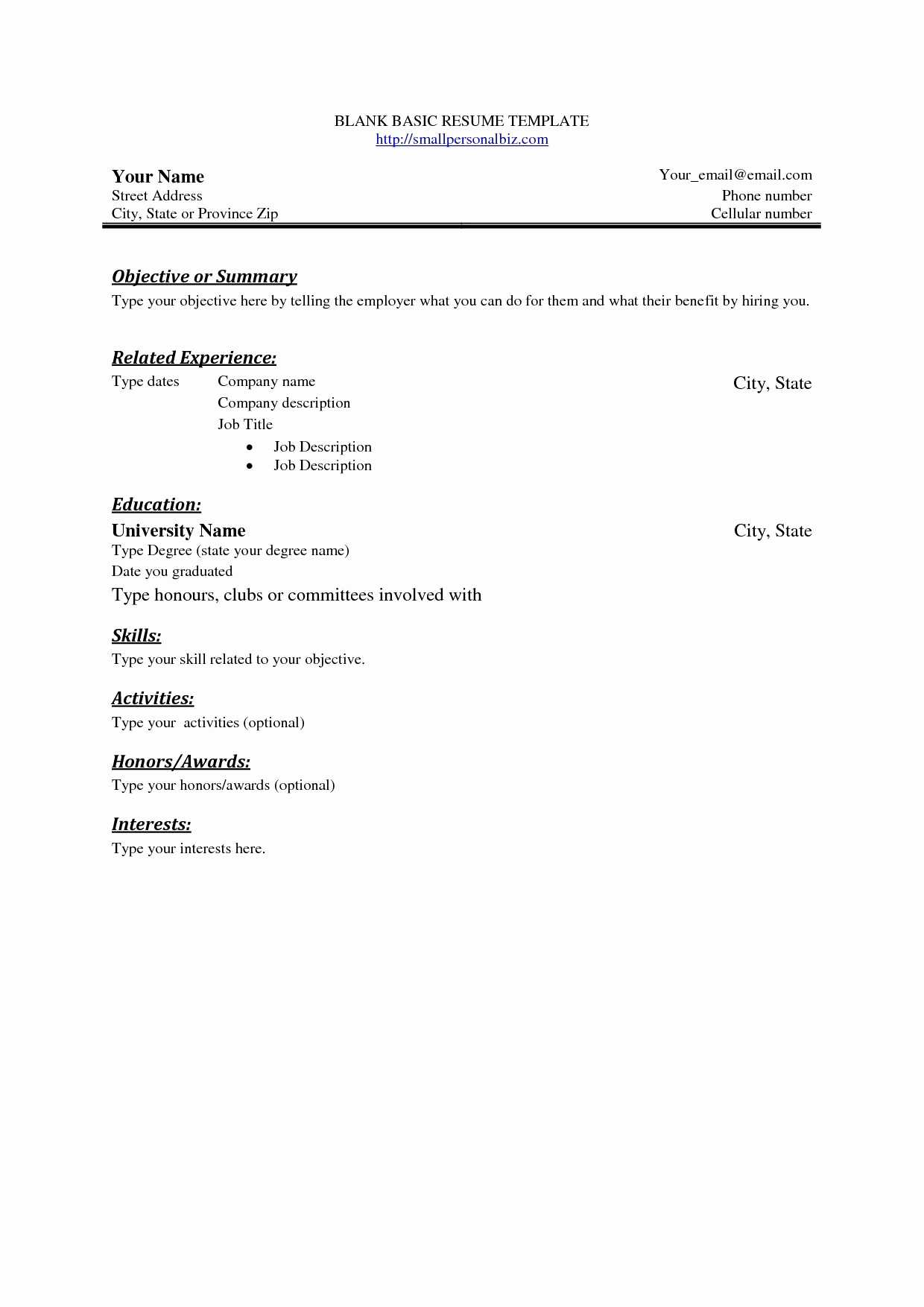 Easy Resume Template Free Cover Letter Templates Throughout Free Basic Resume Templates Microsoft Word