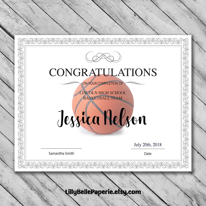Editable Basketball Certificate Template - Printable With Regard To Basketball Camp Certificate Template