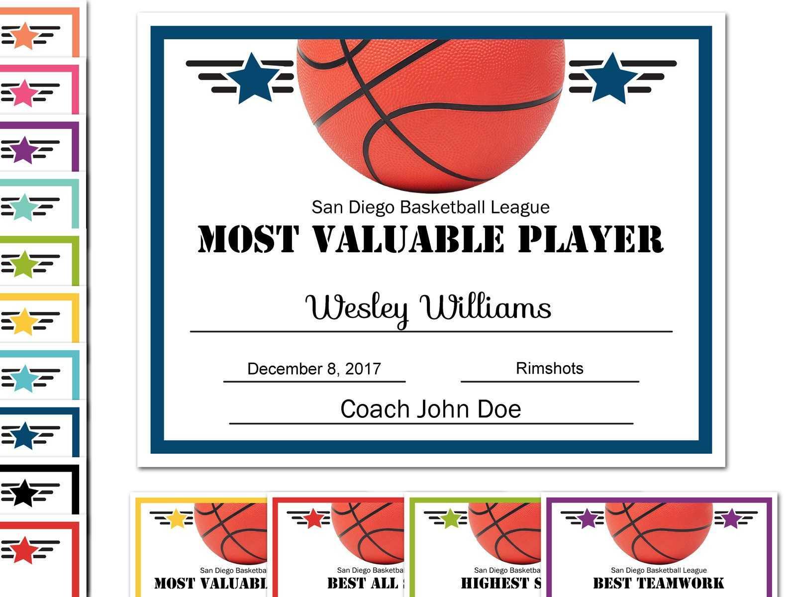 Editable Pdf Sports Team Basketball Certificate Award Pertaining To Basketball Camp Certificate Template