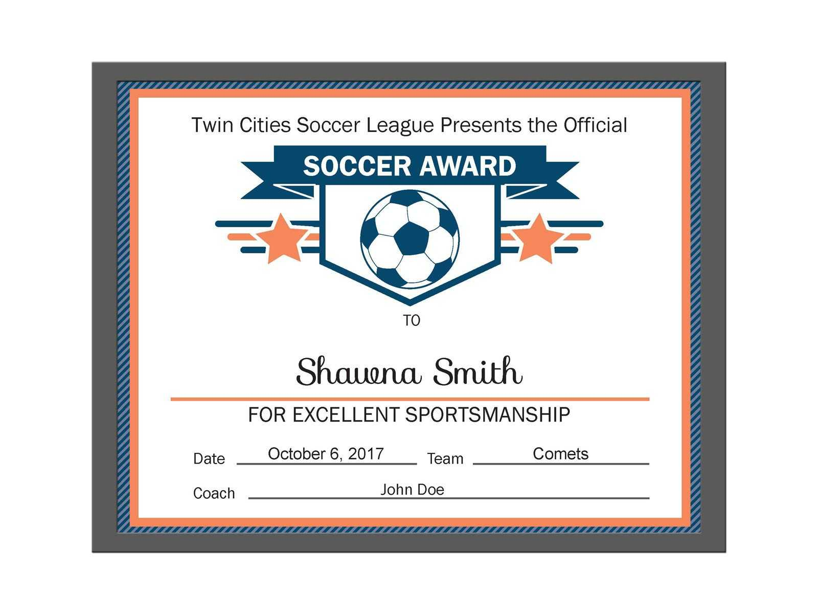 Editable Pdf Sports Team Soccer Certificate Award Template Within Soccer Certificate Template