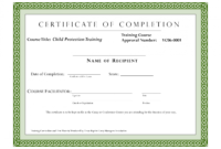 Editable Sample Certificate For Training Completion intended for Fall Protection Certification Template