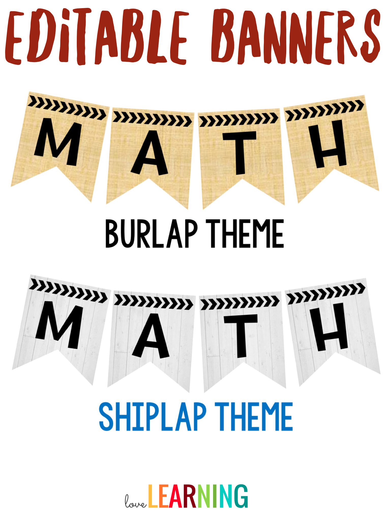Editable Subject Banners - Burlap Theme | Classroom Within Classroom Banner Template