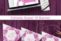 Editable Sweet 16 Banner Template For Pink Purple 16Th Birthday Decoration within Sweet 16 Banner Template