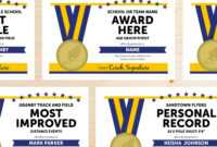 Editable Track And Field Award Certificates – Instant Download Printable –  Blue And Gold intended for Track And Field Certificate Templates Free