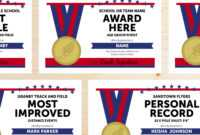 Editable Track And Field Award Certificates – Instant Download Printable –  Blue And Red with Track And Field Certificate Templates Free