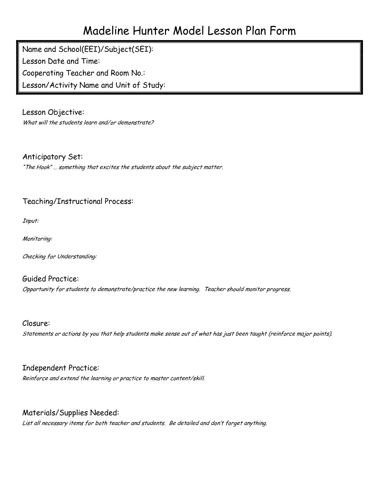 Eei Lesson Plan | Madeline Hunter Lesson Plan, Lesson Plan Within Madeline Hunter Lesson Plan Template Word