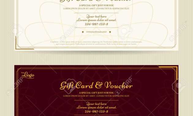 Elegant Gift Voucher Or Gift Card Template With Gold Border inside Elegant Gift Certificate Template