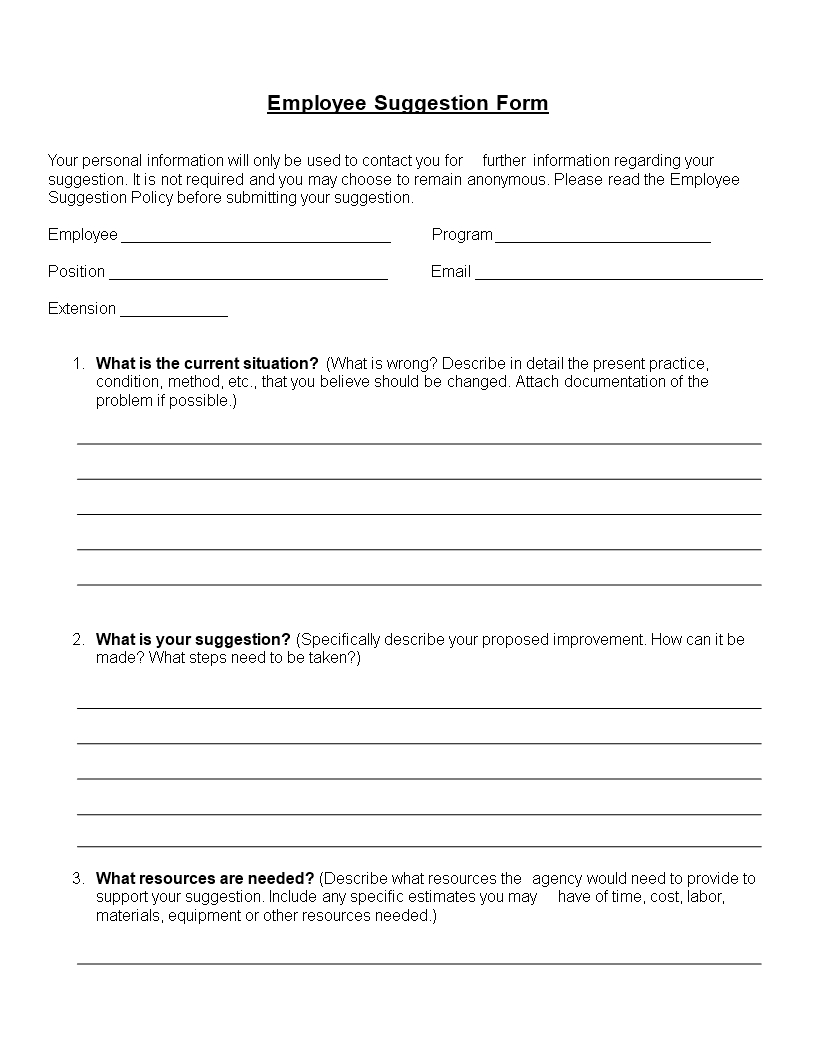 Employee Suggestion Form Word Format | Templates At Regarding Word Employee Suggestion Form Template