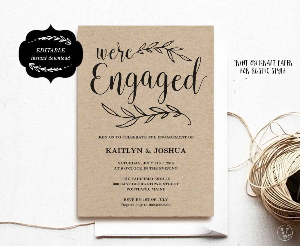 Engagement Invitation Template, Printable Engagement Party Pertaining To Engagement Invitation Card Template