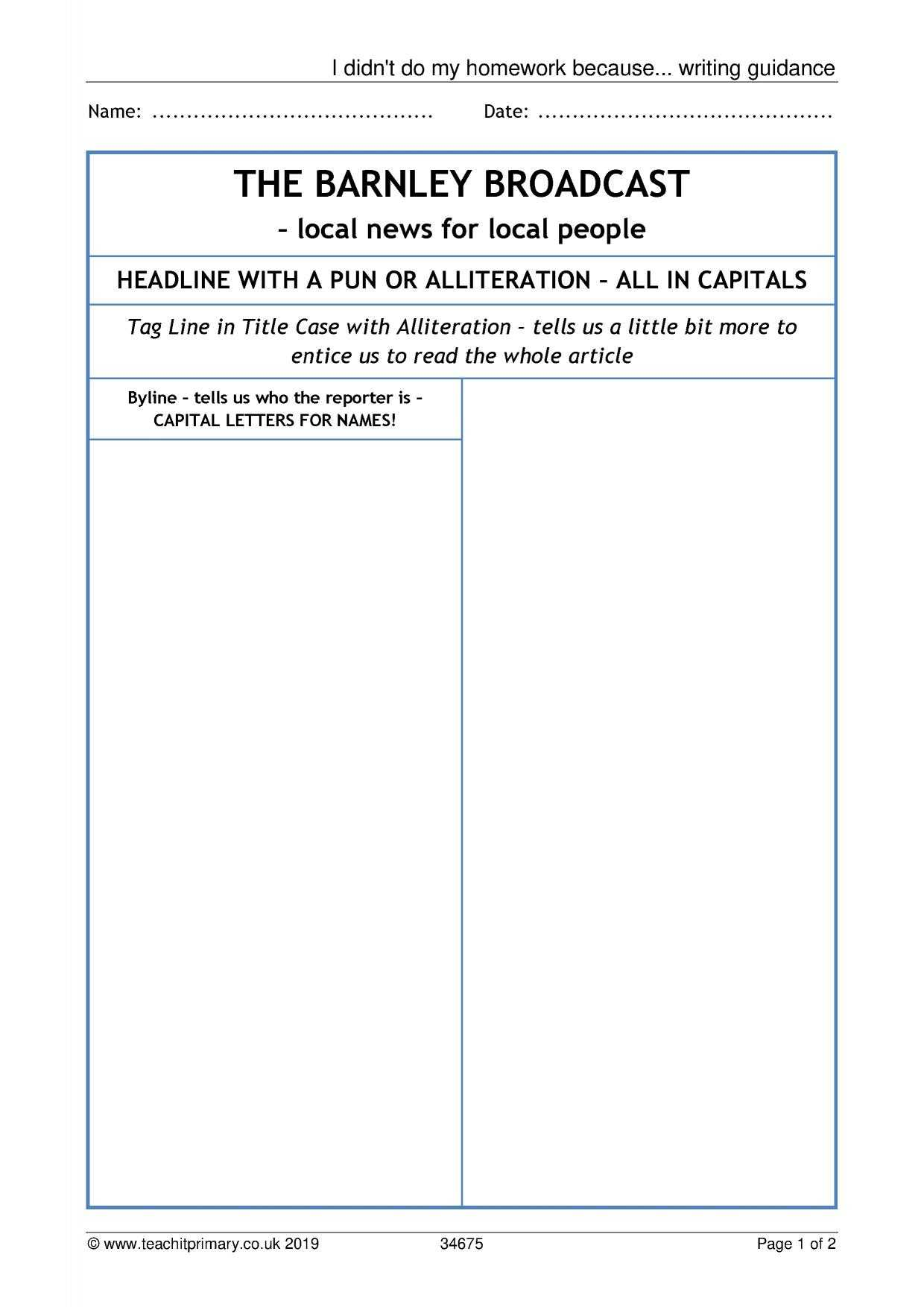 Eyfs | Ks1 | Ks2 | Newspapers | Teachit Primary Throughout Report Writing Template Ks1