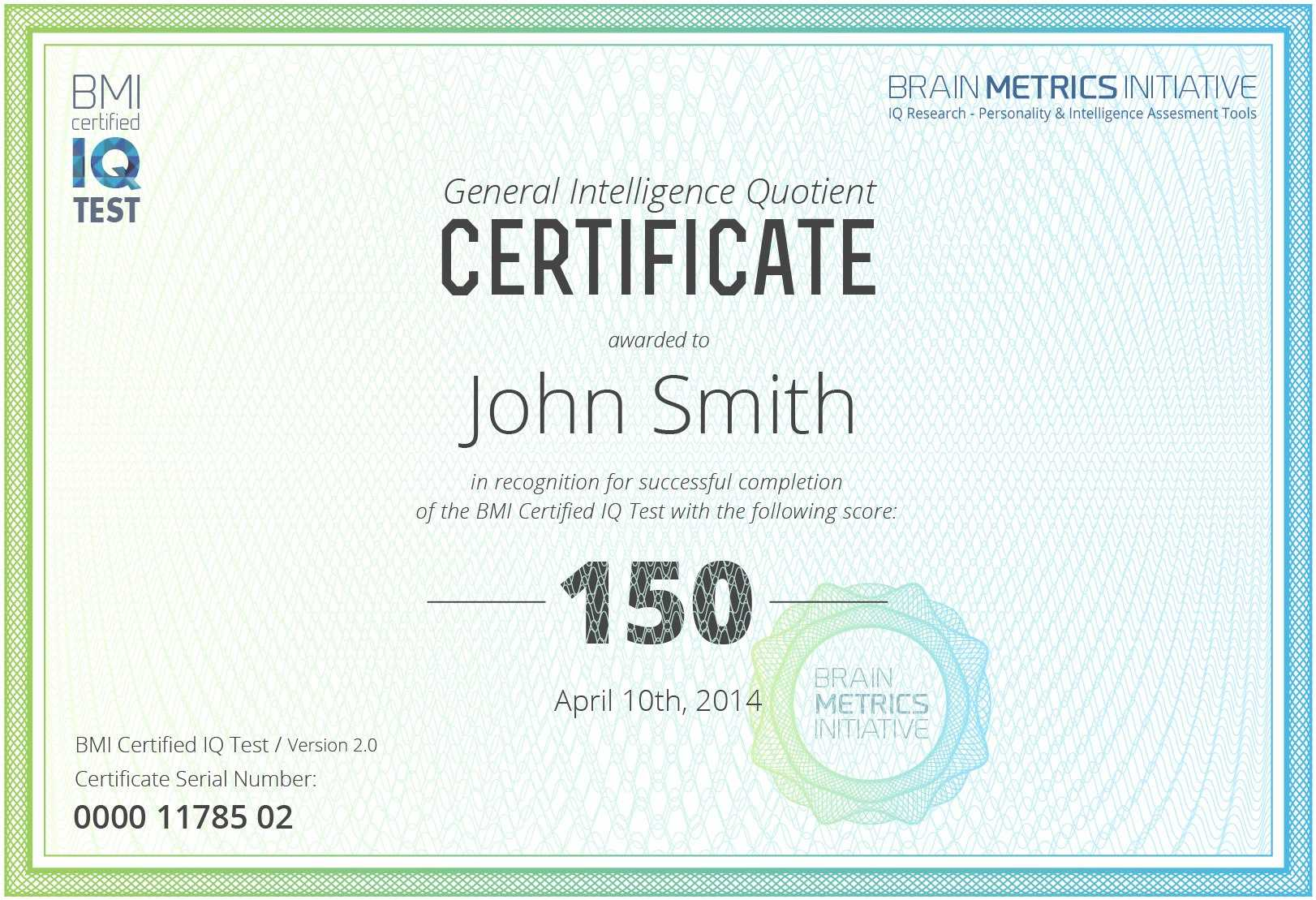 Fake Iq Test Certificate Template Archives - 10+ For Iq Certificate Template