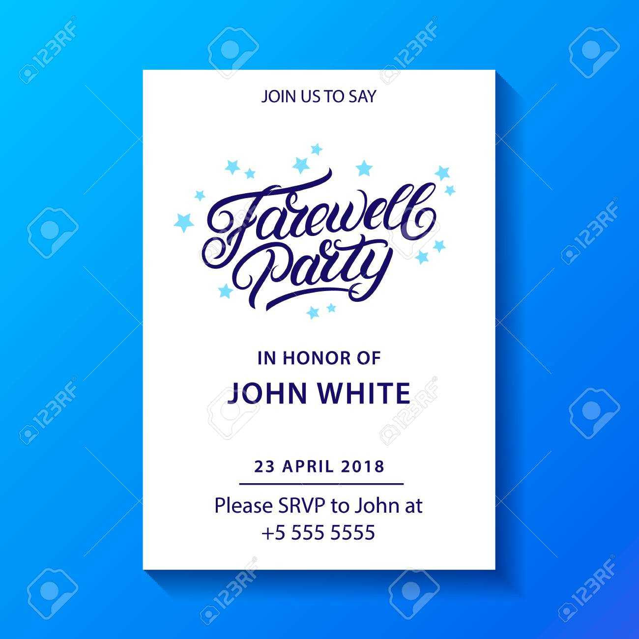 Farewell Party Hand Written Lettering. Invitation Card, Poster,.. Within Farewell Invitation Card Template