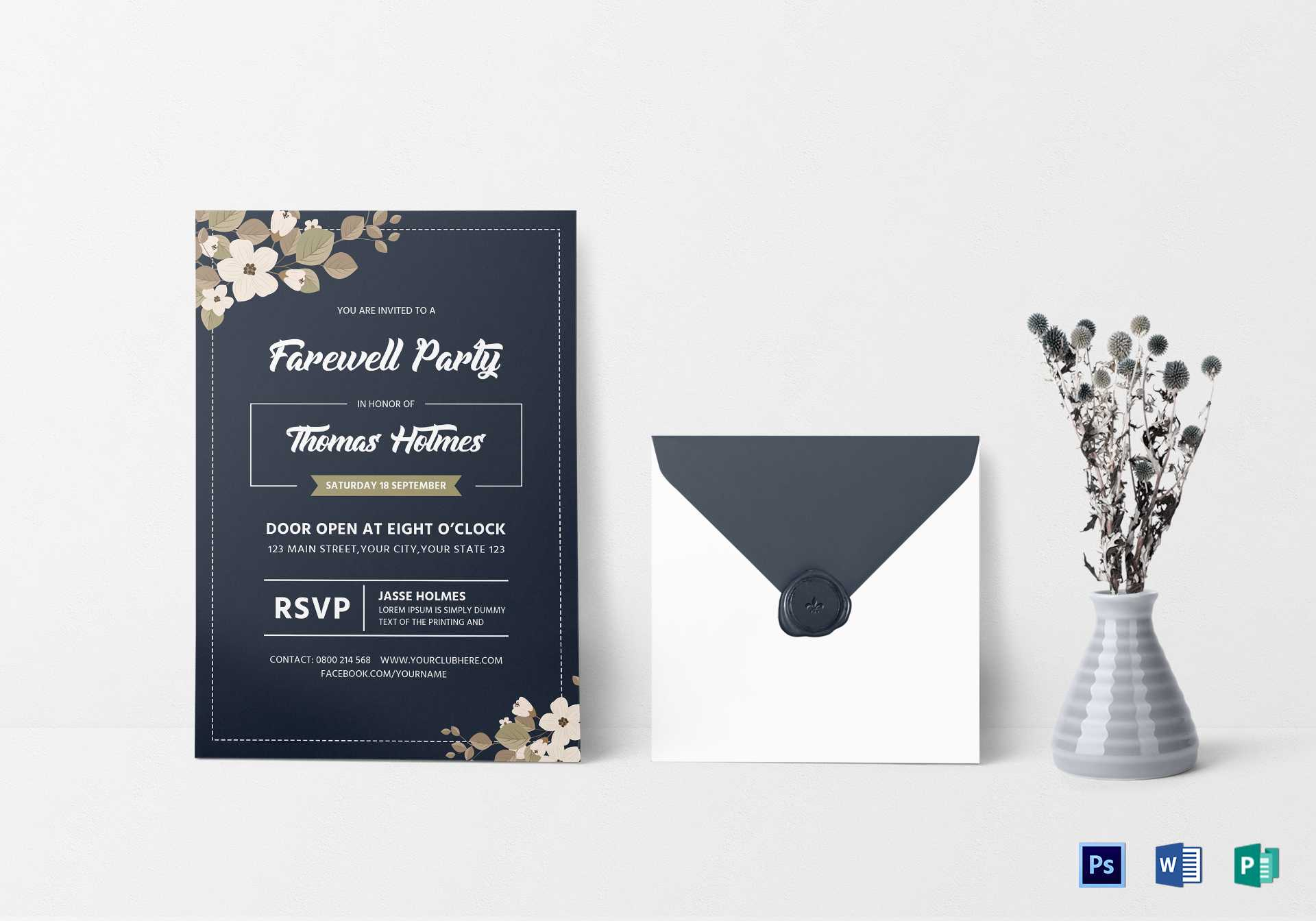 Farewell Party Invitation Card Template Regarding Farewell Regarding Farewell Card Template Word