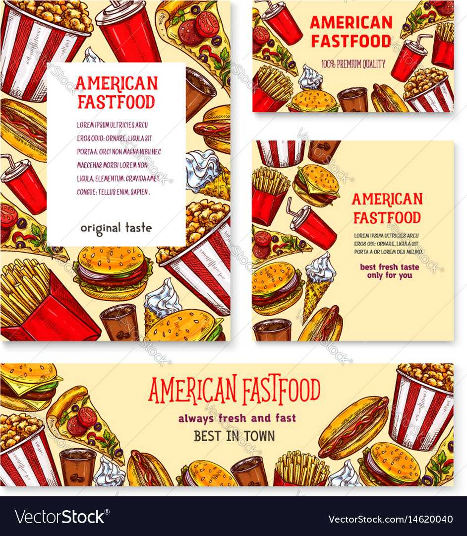 Fast Food American Restaurant Banner Template Set With Regard To Food Banner Template