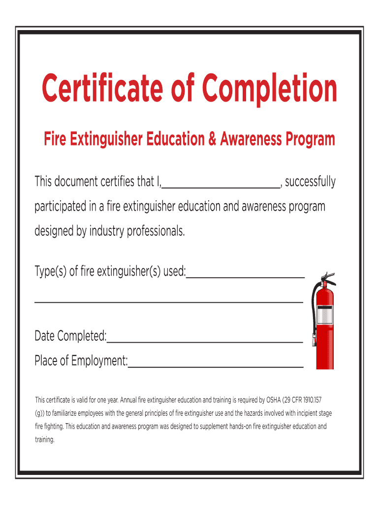 Fillable Online Certificate Of Completion - Fire Throughout Fire Extinguisher Certificate Template