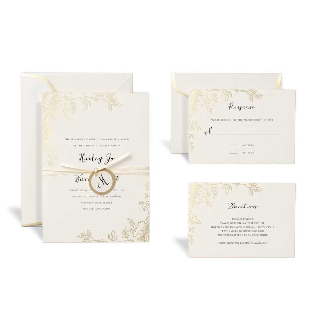 Floral Gold Wedding Invitation Kitcelebrate It For Celebrate It Templates Place Cards