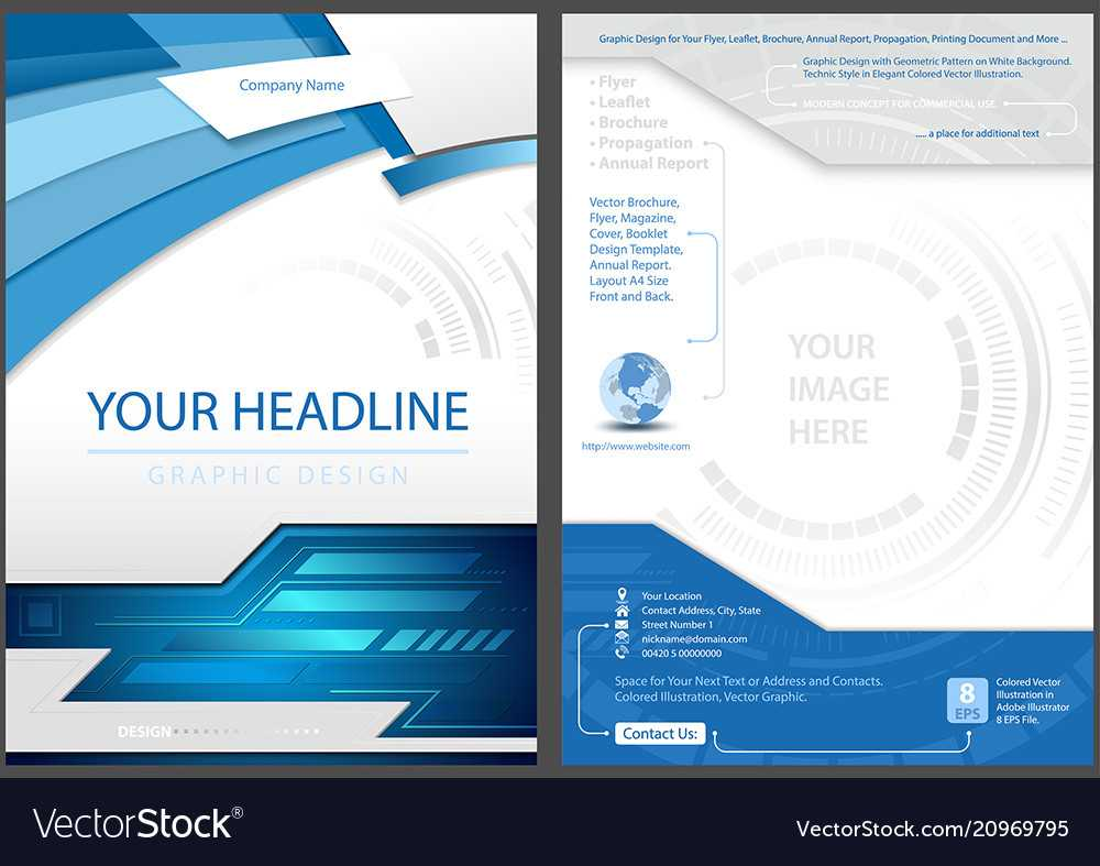 Flyer Template In Blue Tech Style Regarding Technical Brochure Template
