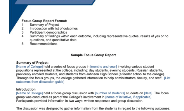 Focus Group Toolkit Sample Focus Group Report with regard to Focus Group Discussion Report Template