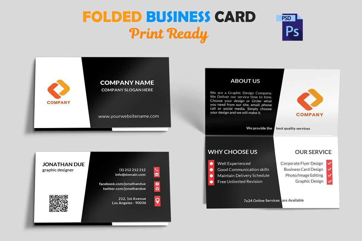 Foldable Business Card Template Folded Indesign Free Tri Throughout Fold Over Business Card Template