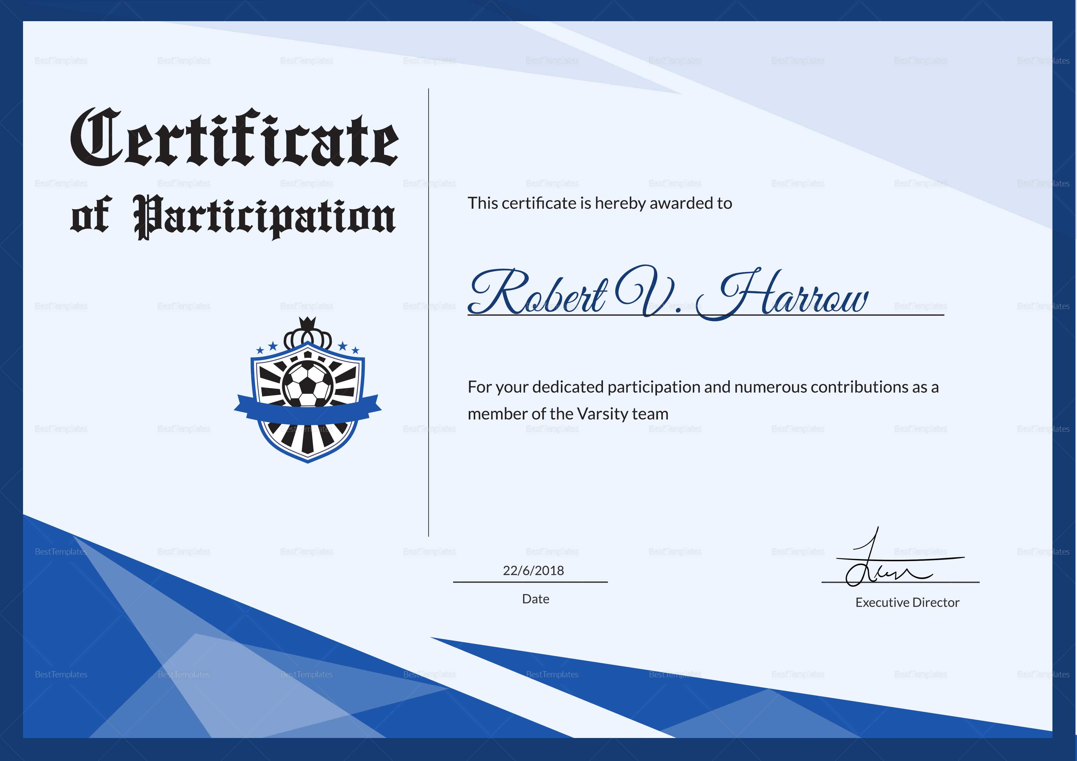 Football Award Certificate Template Within Football Certificate Template
