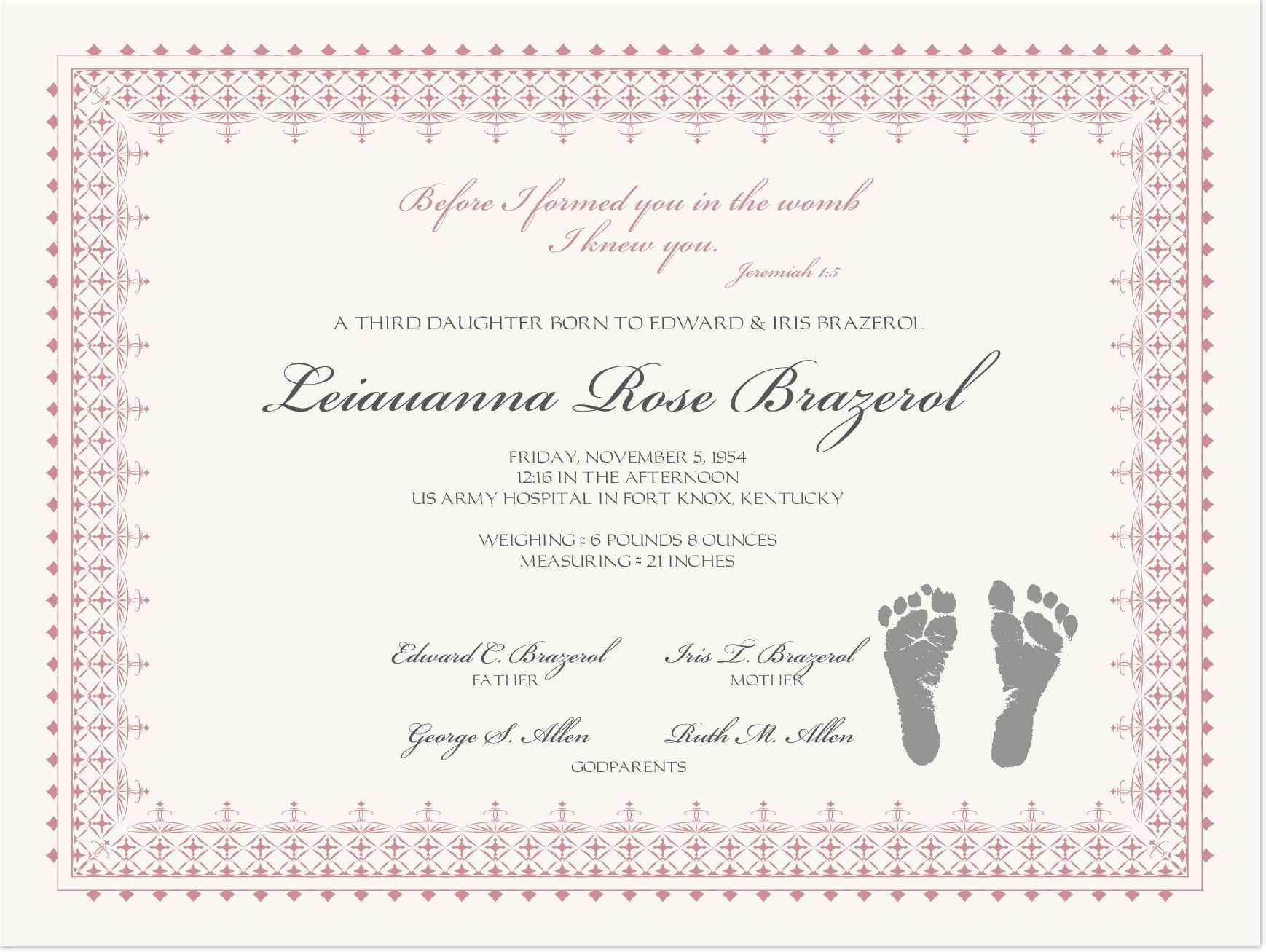Footprints Baby Certificates   Birth Certificate Template In Baby Christening Certificate Template