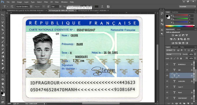 France Id Card Editable Psd Template (Photoshop Template Pertaining To French Id Card Template