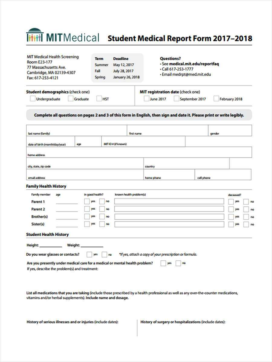 Free 7+ Medical Report Forms In Samples, Examples, Formats In Medical Report Template Doc
