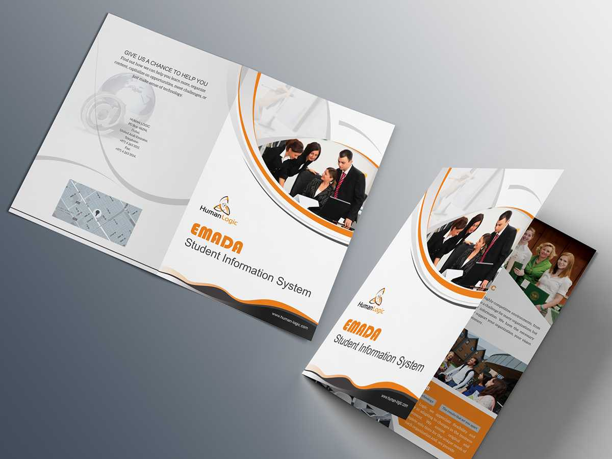 Free Bi Fold Brochure Psd On Behance Within Two Fold Brochure Template Psd