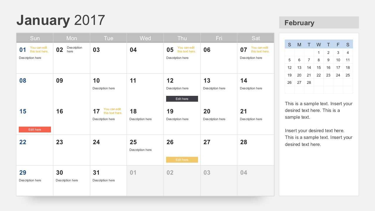Free Calendar 2017 Template For Powerpoint Within Powerpoint Calendar Template 2015
