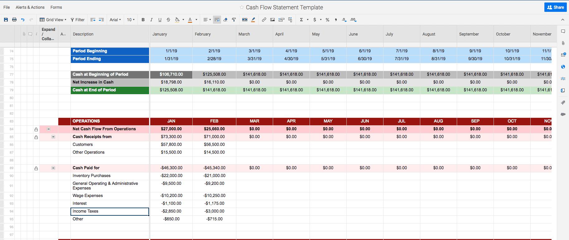 Free Cash Flow Statement Templates   Smartsheet Throughout Cash Position Report Template