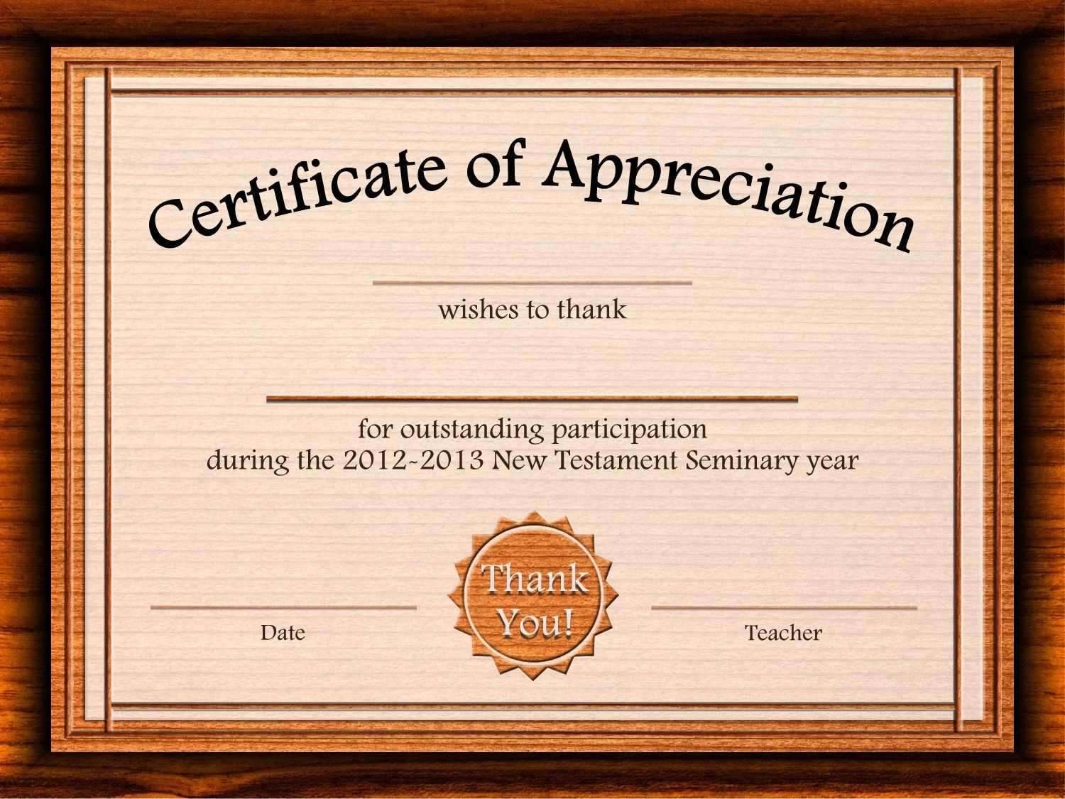 Free Certificate Of Appreciation Templates For Word In Downloadable Certificate Templates For Microsoft Word