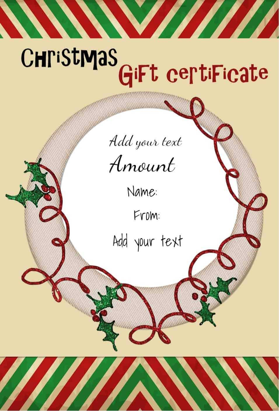 Free Christmas Gift Certificate Template   Customize Online Intended For Christmas Gift Certificate Template Free Download