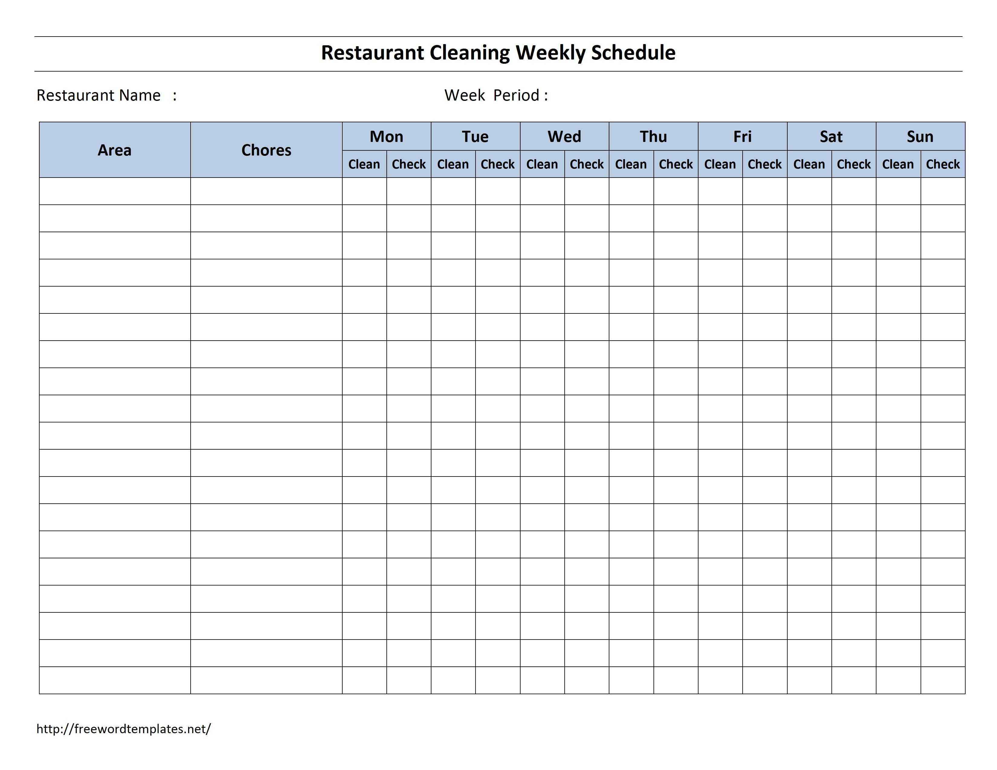 Free Cleaning Schedule Forms | Excel Format And Payroll In Blank Cleaning Schedule Template
