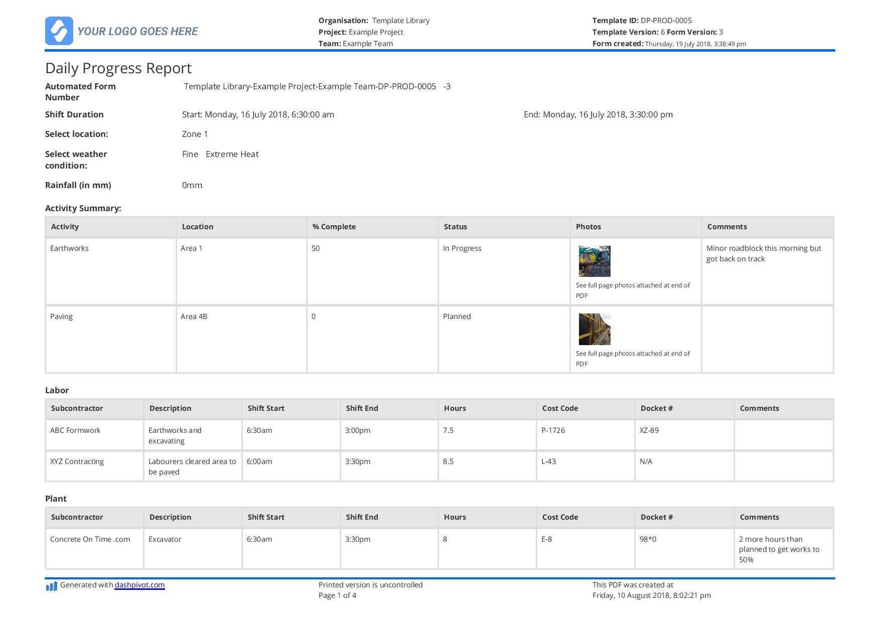 Free Construction Daily Report Template (Better Than Pdf Within Progress Report Template Doc