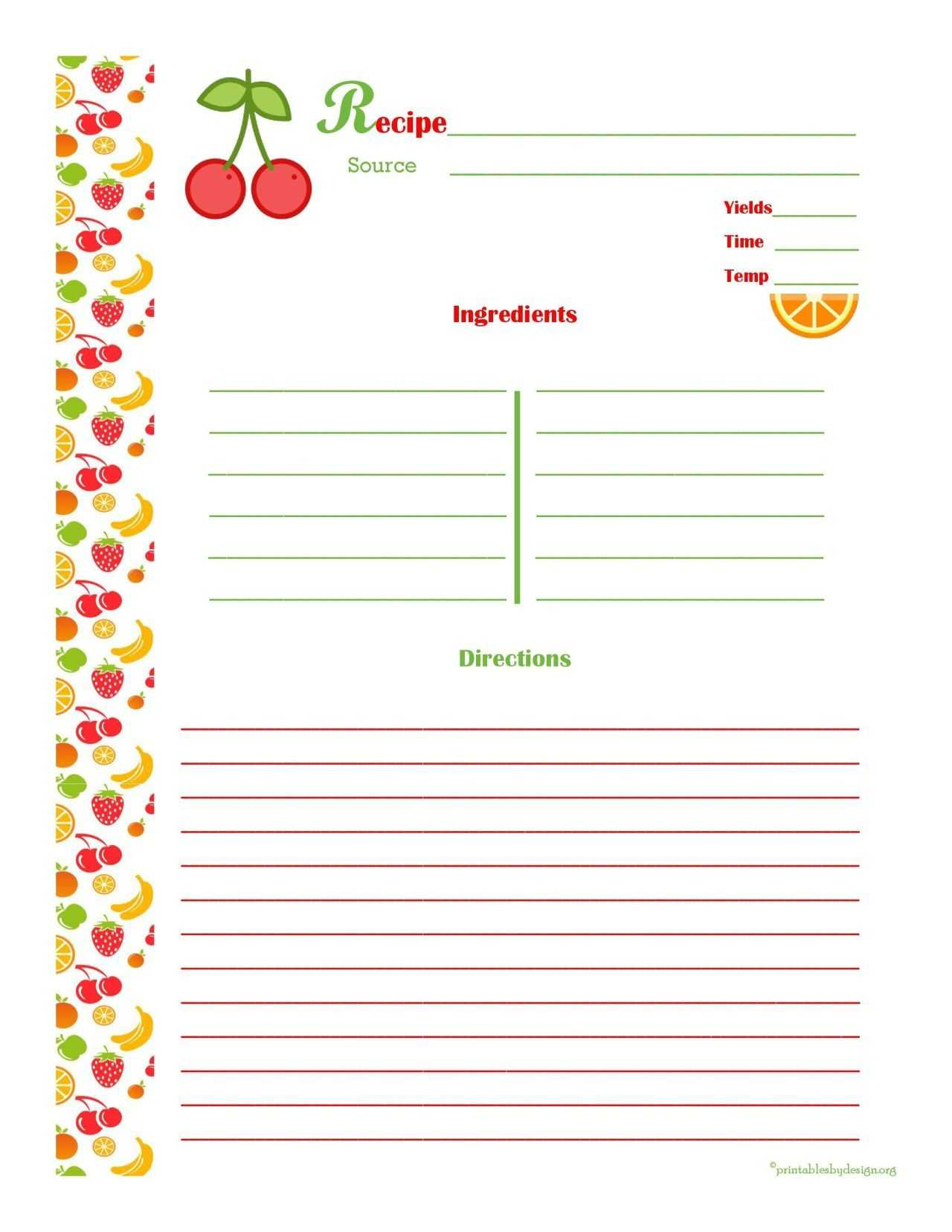 Free Editable Recipe Card Templates For Microsoft Word For Free Recipe Card Templates For Microsoft Word
