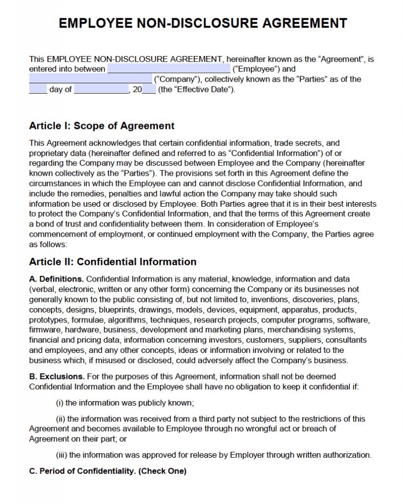 Free Employee Non-Disclosure Agreement (Nda) | Pdf | Word inside Nda Template Word Document