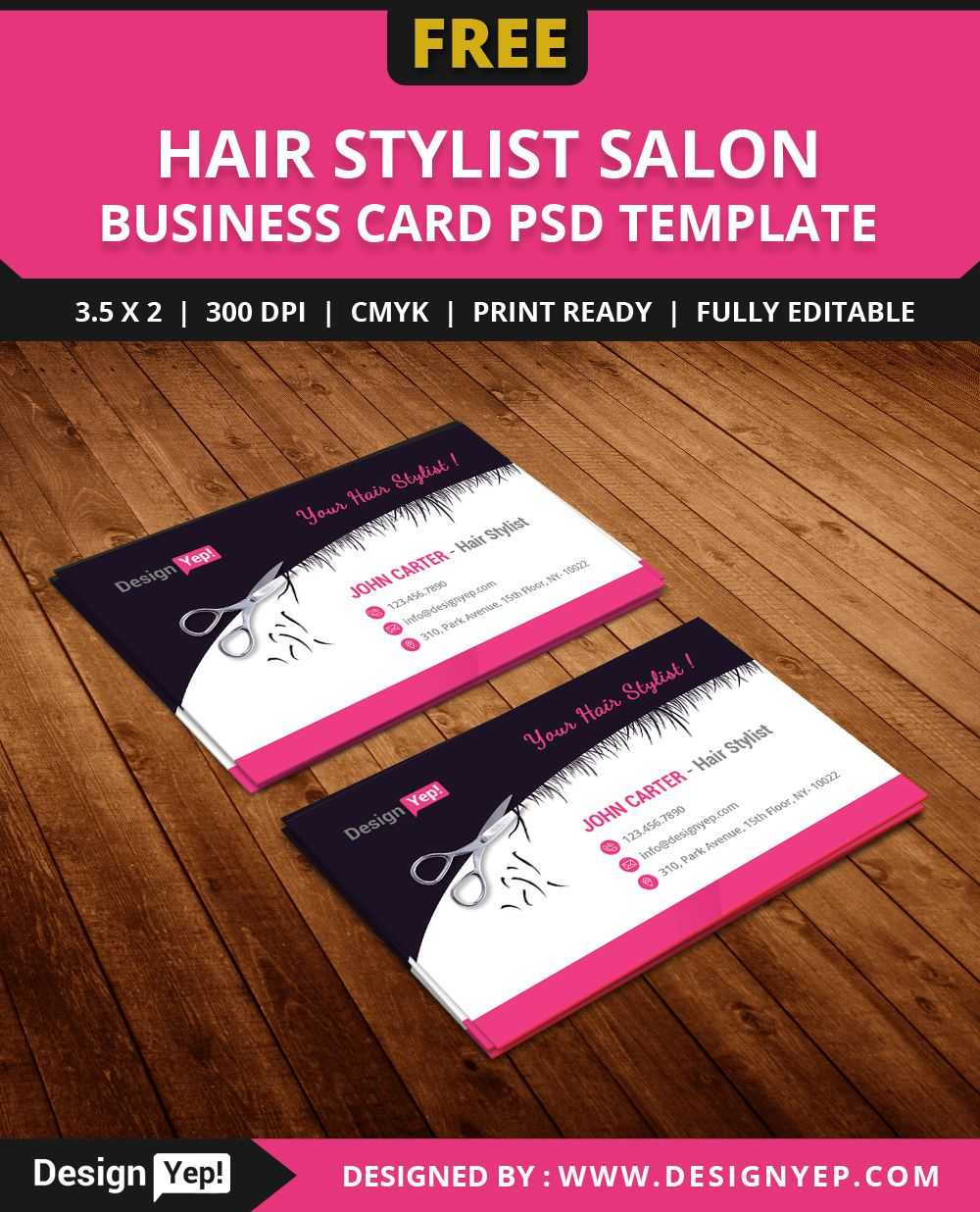 Free Hair Stylist Salon Business Card Template Psd | Free For Hairdresser Business Card Templates Free