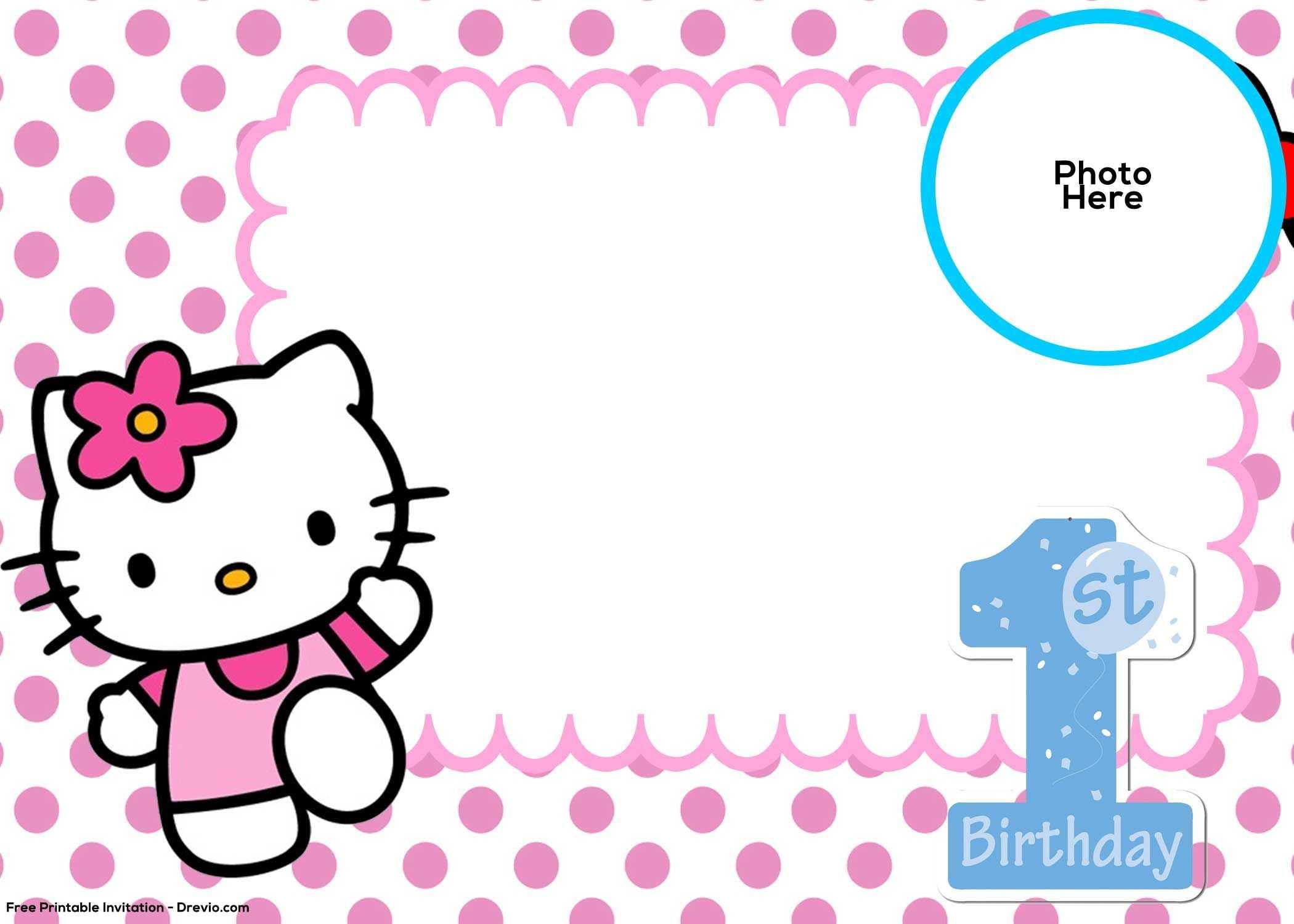 Free Hello Kitty 1St Birthday Invitation Template   Birthday Intended For Hello Kitty Birthday Banner Template Free