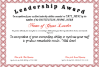 Free Leadership Award At Clevercertificates | Leadership for Leadership Award Certificate Template