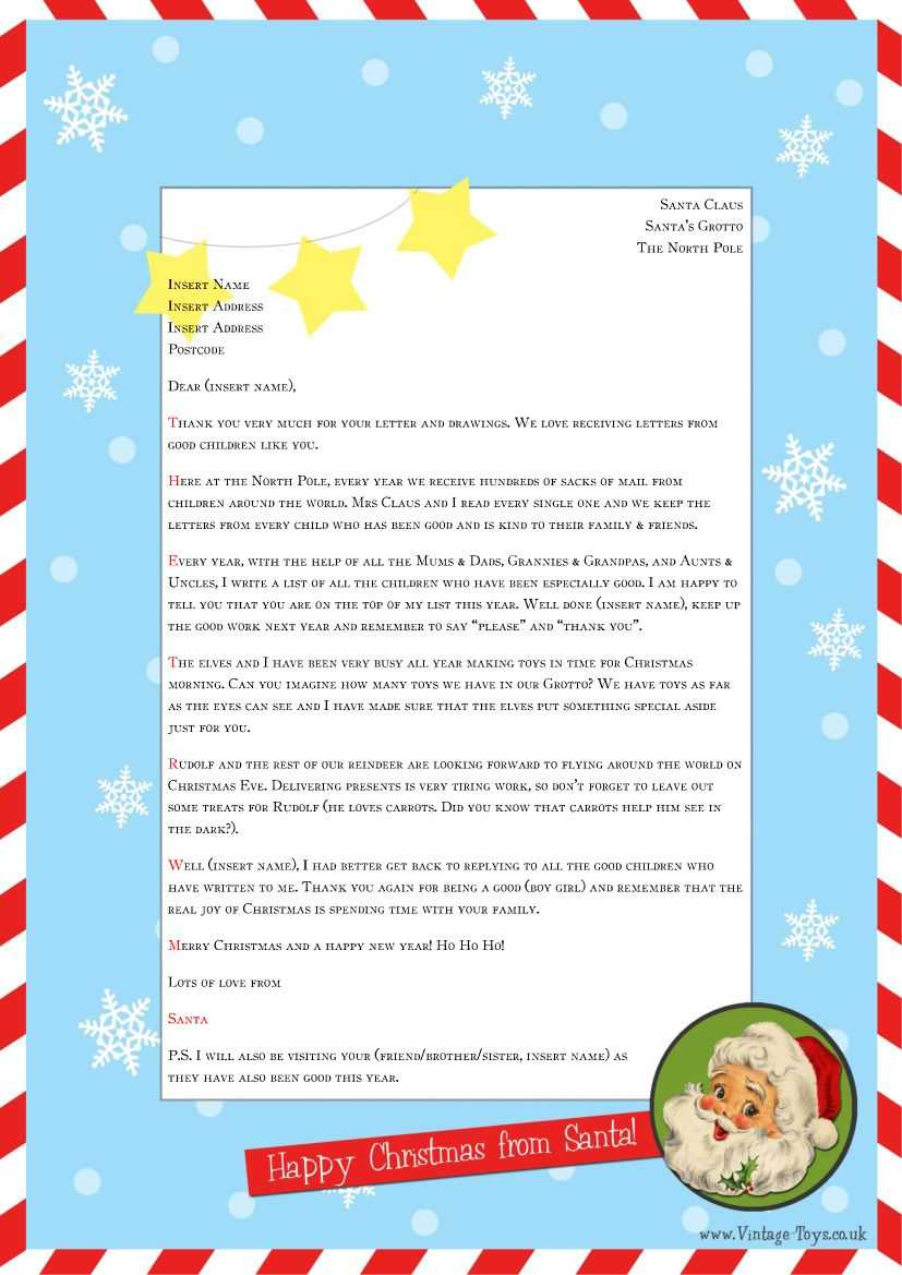 """Free """"Letter From Santa"""" Template For You To Download And In Letter From Santa Template Word"""