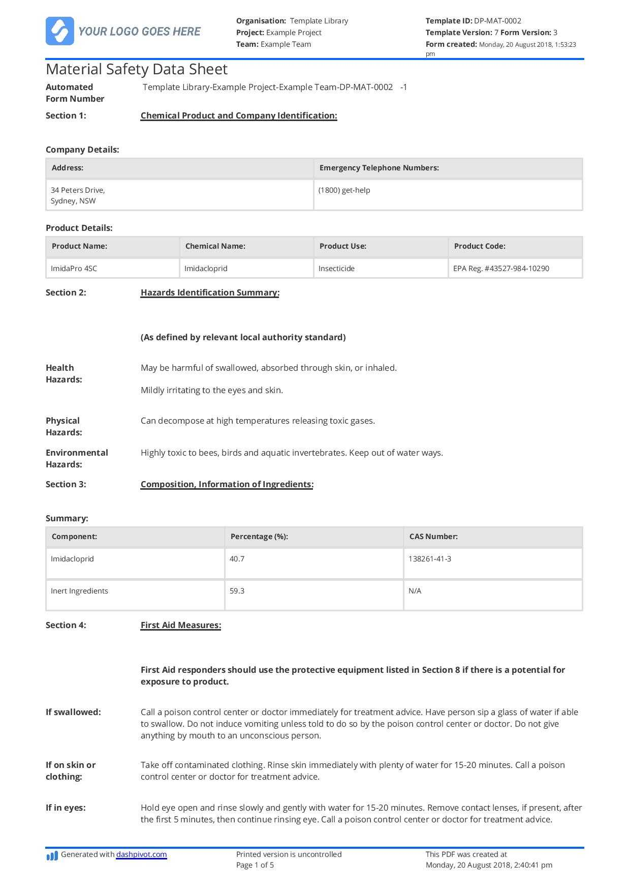 Free Material Safety Data Sheet Template (Better Than Word Throughout Datasheet Template Word