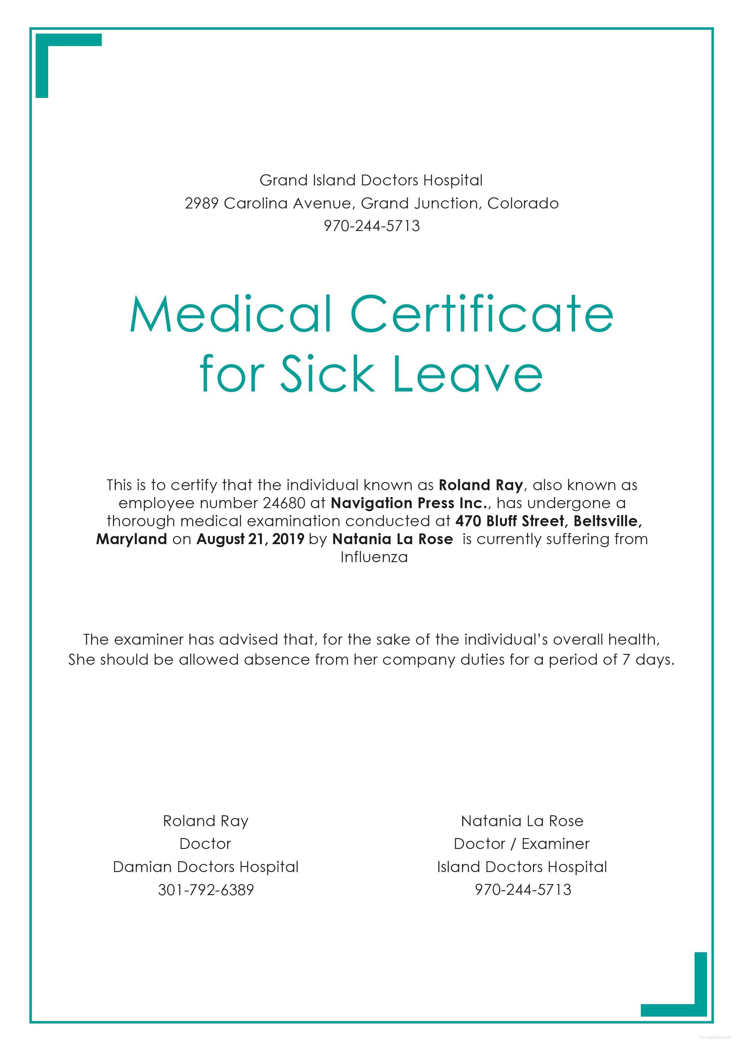 Free Medical Certificate For Sick Leave | Medical, Doctors With Free Fake Medical Certificate Template