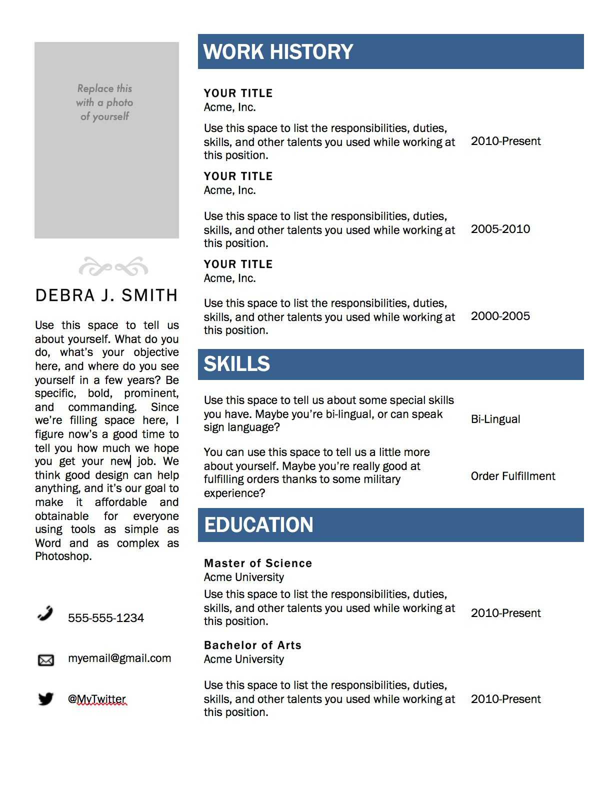 Free Microsoft Word Resume Template | Microsoft Resume For Free Basic Resume Templates Microsoft Word