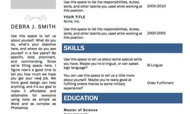 Free Microsoft Word Resume Template | Microsoft Resume regarding Resume Templates Word 2010