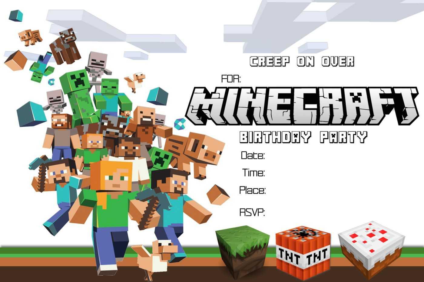 Free Minecraft Birthday Invitation Printable Pertaining To Minecraft Birthday Card Template