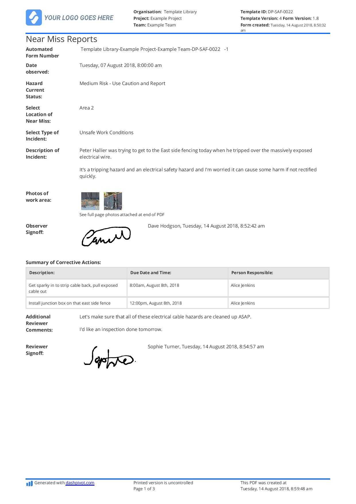 Free Near Miss Reporting Template (Easily Customisable) Within Near Miss Incident Report Template