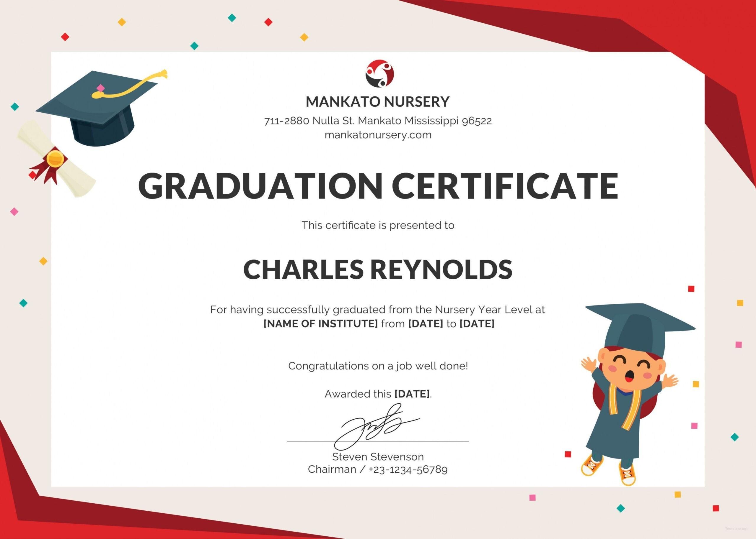 Free Nursery Graduation Certificate Template In Psd Ms Inside 5Th Grade Graduation Certificate Template